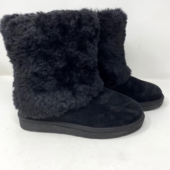 Patten Genuine Lamb Fur Black Boot 6